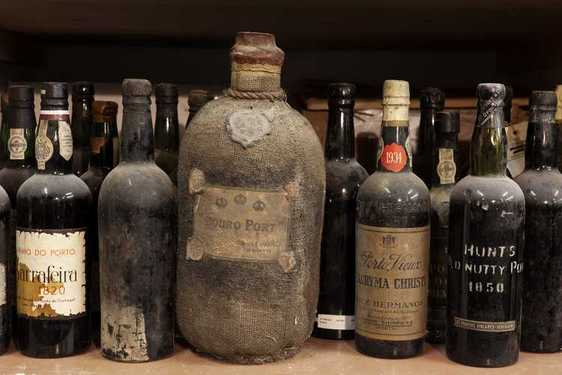 A Douro Port of the 19th century of the antique liquor collection of Bay van der Bunt of the Netherlands is seen in Breda